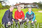 General manager Maurice O'Meara pops the champange to celebrate the announcement that next years Irish Open is to be held in Killarney Golf club with David Keating Killarney Golf Club Lead PGA Professional (red) and Billy O'Boyle Killarney Golf Club PGA Professional on the eighteenth green on Wednesday
