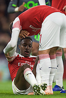 Danny Welbeck of Arsenal sits injured as Henrikh Mkhitaryan of Arsenal tries to help during the UEFA Europa League group match between Arsenal and Sporting Clube de Portugal at the Emirates Stadium, London, England on 8 November 2018. Photo by Andrew Aleks / PRiME Media Images.<br /> .<br /> (Photograph May Only Be Used For Newspaper And/Or Magazine Editorial Purposes. www.football-dataco.com)