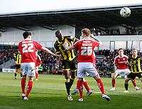 Burton Albion v Barnsley 16.4.16 .Sky Bet League 1 ....... Burtons Lucas Akins heads on goal