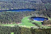 Lottsee im Vordergrund, Krebssee im Hintergrund, Luftaufnahme, Luftbild, Lauenburgische Seenplatte, bei Mölln, Herzogtum Lauenburg, Schleswig-Holstein, Norddeutschland, Deutschland