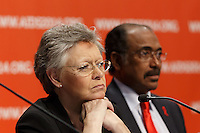 Fran&ccedil;oise Barr&eacute;-Sinoussi and Michel Sidibé at a press conference prior to the opening session of the 20th International AIDS Conference (AIDS 2014) at the Melbourne Convention and Exhibition Centre.<br /> For licensing of this image please go to http://demotix.com