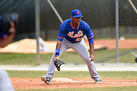 New York Mets first baseman Dominic Smith (22) during a minor league spring training game against the Miami Marlins on March 28, 2014 at Roger Dean Stadium in Jupiter, Florida.  (Mike Janes/Four Seam Images)