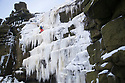 12/12/17<br /> <br /> Looking like a scene you'd expect to see in the Alps this stunning phenomenon is actually only 125 miles from London. Ice climbers scale giant ice walls that have formed on Kinder Downfall after overnight temperatures fall to nearly minus ten degrees celsius.  The 30 metre waterfall has frozen hard enough to climb for the first time in two years. The river Kinder flows from Kinder Scout, the only mountain in the Derbyshire Peak District near Hayfield.<br />   <br /> All Rights Reserved F Stop Press Ltd. +44 (0)1335 344240 +44 (0)7765 242650  www.fstoppress.com