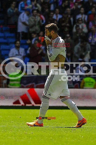 Real Madrid´s Sergio Ramos during 2014-15 La Liga match between Real Madrid and Granada at Santiago Bernabeu stadium in Madrid, Spain. April 05, 2015. (ALTERPHOTOS/Luis Fernandez) /NORTEphoto.com