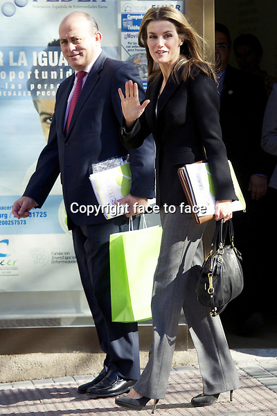 05-02-2013 Madrid - Arrival of Princess Letizia at a meeting of the Spanish Federation for Rare Diseases (FEDER) in Madrid...Credit: PPE/face to face..- No Rights for Netherlands -