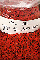 Bright red chilli for sale at a food market in Xi'an, Shaanxi, China.