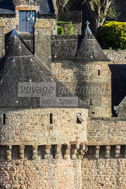 Europe/France/Normandie/Basse-Normandie/50/Manche: Baie du Mont Saint-Michel, classée Patrimoine Mondial de l'UNESCO, Le Mont Saint-Michel : Remparts et Tour du Roy // Europe/France/Normandie/Basse-Normndie/50/Manche: Bay of Mont Saint Michel, listed as World Heritage by UNESCO,  The Mont Saint-Michel