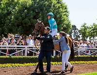 ARCADIA, CA - MAY 27:Lady Eli and Irad Ortiz get a leg up before the Gamely Stakes at Santa Anita Park  on May 27, 2017 in Arcadia, California. (Photo by Alex Evers/Eclipse Sportswire/Getty Images)