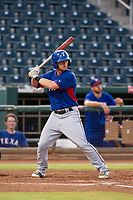 AZL Rangers second baseman Ryan Dorow (28) at bat against the AZL Indians on August 26, 2017 at Goodyear Ball Park in Goodyear, Arizona. AZL Indians defeated the AZL Rangers 5-3. (Zachary Lucy/Four Seam Images)