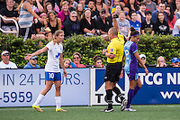 Allston, MA - Sunday July 31, 2016: Louise Schillgard, Leszek Stalmach, Kristen Edmonds during a regular season National Women's Soccer League (NWSL) match between the Boston Breakers and the Orlando Pride at Jordan Field.
