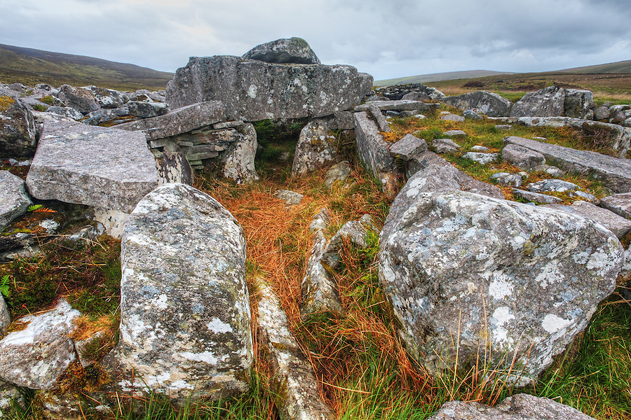 Exterior of the Cloghanmore megalithic tomb chamber, County Donegal, Republic of Ireland