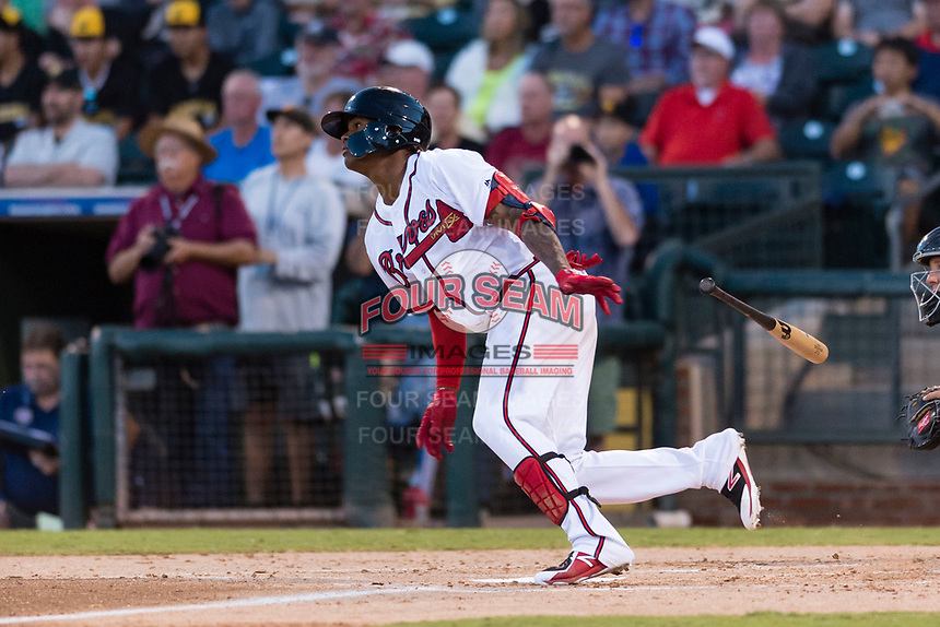 AFL West center fielder Cristian Pache (27), of the Peoria Javelinas and Atlanta Braves organization, starts down the first base line during the Arizona Fall League Fall Stars game at Surprise Stadium on November 3, 2018 in Surprise, Arizona. The AFL West defeated the AFL East 7-6 . (Zachary Lucy/Four Seam Images)