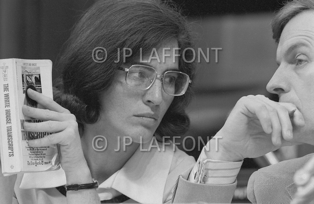 Washington DC 1973 - Elizabeth Holtzman (D-New York) reading White House Transcripts with Wayne Owens during Watergate Hearings -  - A break in at the Democratic National Committee headquarters at the Watergate complex on June 17, 1972 results in one of the biggest political scandals the US government has ever seen.  Effects of the scandal ultimately led to the resignation of  President Richard Nixon, on August 9, 1974, the first and only resignation of any U.S. President.