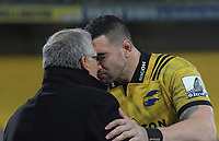 NZ Rugby's Bill Osborne and Hurricanes centurion Jeff Toomaga-Allen hongi after the Super Rugby quarterfinal match between the Hurricanes and Chiefs at Westpac Stadium in Wellington, New Zealand on Friday, 20 July 2018. Photo: Dave Lintott / lintottphoto.co.nz