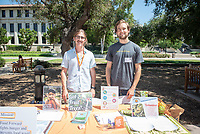 Student intern Paul Flood, left, and Food Forward staffer Joe Bobman.<br /> 2018 InternLA student participants share their poster presentations about their summer experiences working as interns in Los Angeles. Summer Experience Expo, Sept. 13, 2018 in the Academic Quad. Hosted by Career Services.<br /> (Photo by Marc Campos, Occidental College Photographer)