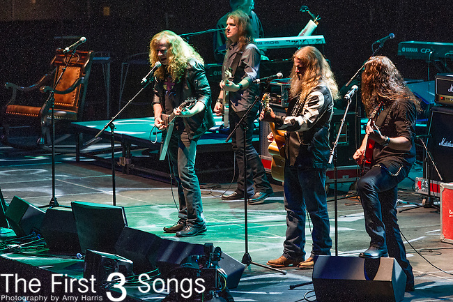 "Dave Mustaine, Marty Friedman, David Elledson of Megadeth and Jamey Johnson perform at the George Jones Tribute Concert ""Playin' Possum: The Final No Show"" at Bridgestone Arena in Nashville, TN"