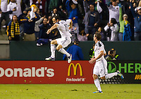 CARSON, CA - November 6, 2011: LA Galaxy midfielder Landon Donovan celebrating his goal during the match between LA Galaxy and Real Salt Lake at the Home Depot Center in Carson, California. Final score LA Galaxy 3, Real Salt Lake 1.