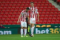 Ramadan Sobhi of Stoke City celebrates his goal with Peter Crouch during the Carabao Cup match between Stoke City and Rochdale at the Bet365 Stadium, Stoke-on-Trent, England on 23 August 2017. Photo by James Williamson / PRiME Media Images.