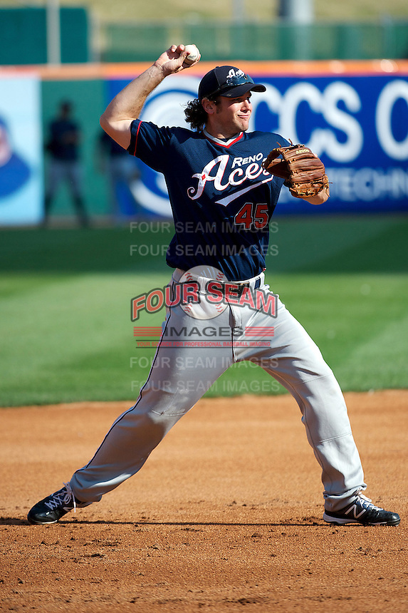 Reno Aces infielder Ryan Wheeler #45 during practice before the Triple-A All-Star game featuring the Pacific Coast League and International League top players at Coca-Cola Field on July 11, 2012 in Buffalo, New York.  PCL defeated the IL 3-0.  (Mike Janes/Four Seam Images)