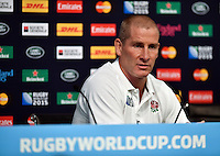 England head coach Stuart Lancaster speaks to the media at a press conference. England Captain's Run on October 9, 2015 at Manchester City Stadium in Manchester, England. Photo by: Patrick Khachfe / Onside Images
