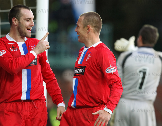 Kris Boyd and Kenny Miller celebrate goal no 3 together