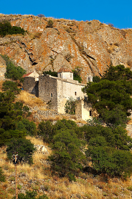 Byzantine chapels of the old Bronze Age  hill village of Paliachora (894),  Aegina - Colonna , Greek Saronic Islands