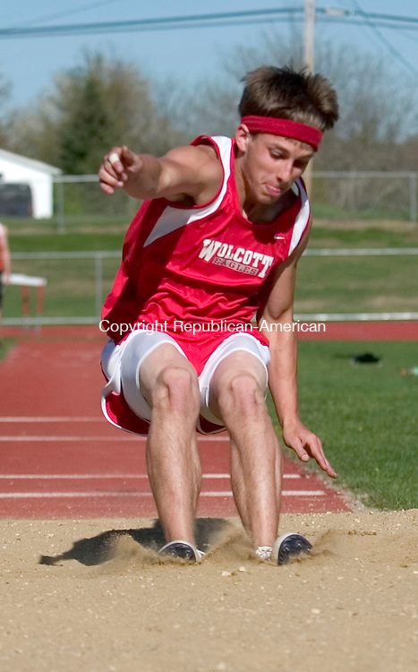 WOLCOTT, CT- 08 MAY 2007- 050807JT12- <br /> Wolcott's Jason DiTota during the long jump at Tuesday's track meet at Wolcott.<br /> Josalee Thrift Republican-American