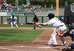 Adam Eaton makes a bunt attempt during a minor league baseball game between the Reno Aces and the Tacoma Rainiers in Reno, Nev., on Wednesday, May 30, 2012. The Aces won 13-5..Photo by Cathleen Allison