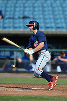 Michael Gettys (11) of Gainesville High School in Gainesville, Florida playing for the Atlanta Braves scout team during the East Coast Pro Showcase on August 2, 2013 at NBT Bank Stadium in Syracuse, New York.  (Mike Janes/Four Seam Images)