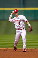 Nebraska Cornhuskers second baseman Jake Schleppenbach (6) makes a throw to first base during the NCAA baseball game against the Hawaii Rainbow Warriors on March 7, 2015 at the Houston College Classic held at Minute Maid Park in Houston, Texas. Nebraska defeated Hawaii 4-3. (Andrew Woolley/Four Seam Images)