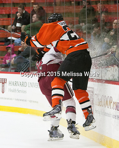 Jake Horton (Harvard - 91), Joe Grabowski (Princeton - 27) - The Harvard University Crimson defeated the visiting Princeton University Tigers 5-0 on Harvard's senior night on Saturday, February 28, 2015, at Bright-Landry Hockey Center in Boston, Massachusetts.