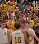 O'Fallon students react in the waning moments of the final game as Minooka defeated O'Fallon in the Class 4A Belleville East boys volleyball sectional final at Belleville East High School on Tuesday May 28, 2019.<br /> Tim Vizer/Special to STLhighschoolsports.com