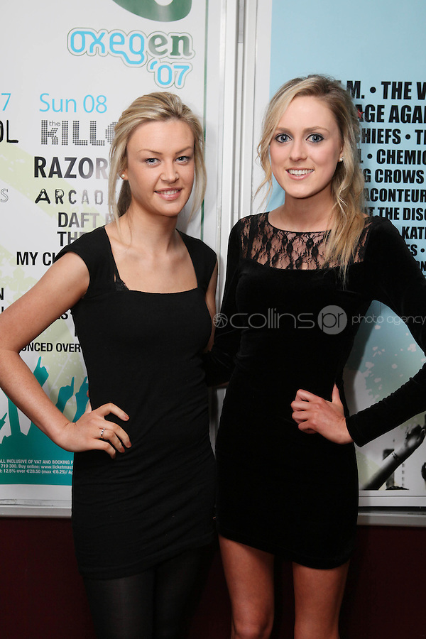 NO REPRO FEE. OXYGEN 2011 LAUNCH. Pictured at the Academy, Dublin for the launch of Oxygen 2011 are Sadhbh Marron and Hannah Murphy. The three day music festival which takes place July 8th, 9th, 10th at Punchestown Racecourse, Naas, Co Kildare. Picture James Horan/Collins Photos