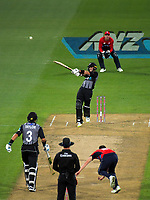 NZ's Mark Chapman bats during the International Twenty20 cricket match between the NZ Black Caps and England at Westpac Stadium in Wellington, New Zealand on Tuesday, 13 February 2018. Photo: Dave Lintott / lintottphoto.co.nz