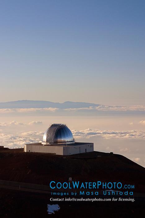NASA Infrared Telescope Facility or IRTF, and Haleakala of Maui at distance, Mauna Kea Observatories, Big Island, Hawaii