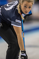Glasgow. SCOTLAND.  Vicki ADAMS, look's to check the path of the &quot;Stone&quot; during  the &quot;Round Robin&quot; Game.  Scotland vs Russia,  Le Gruy&egrave;re European Curling Championships. 2016 Venue, Braehead  Scotland<br /> Thursday  24/11/2016<br /> <br /> [Mandatory Credit; Peter Spurrier/Intersport-images][Mandatory Credit; Peter Spurrier/Intersport-images]