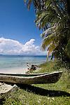 A Cayuko, or dug-out canoe sits on Isla Pelikano, San Blas Islands, Kuna Yala, Panama