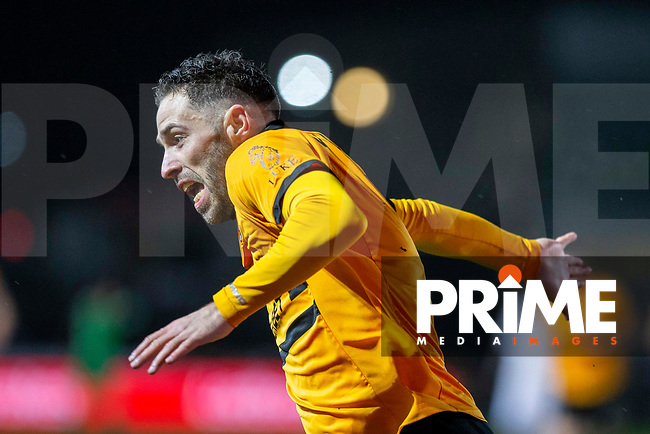 Robbie Willmott of Newport County celebrates scoring his side's first goal during the FA Cup 4th round replay match between Newport County and Middlesbrough at Rodney Parade, Newport, Wales on 5 February 2019. Photo by Mark  Hawkins / PRiME Media Images.
