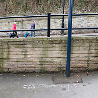 Chalk marks on the ground near Durham railway station indicate where a beggar may have sat seeking money for accommodation and food.