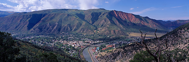 A panoramic view of Glenwood Springs and the Colorado River at the mouth of Glenwood Canyon, CO