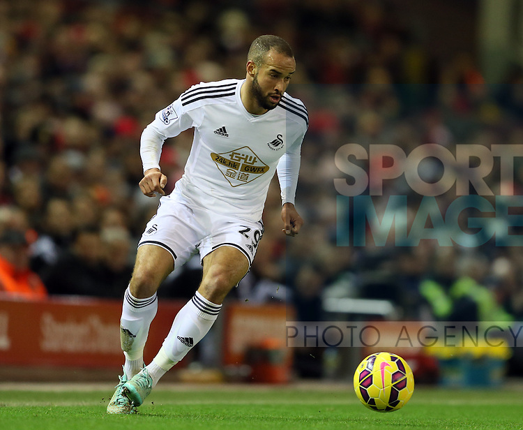 Ashley Richards of Swansea City - Barclays Premier League - Liverpool vs Swansea City - Anfield Stadium - Liverpool - England - 29th December 2014  - Picture Simon Bellis/Sportimage