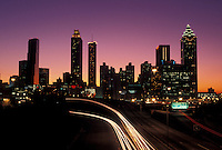 skyline, Atlanta, Georgia, GA, Skyline of downtown Atlanta and traffic from Jackson Street at sunset.