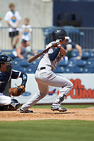 Gosuke Katoh (50) of the Scranton/Wilkes-Barre RailRiders follows through on his swing against the Gwinnett Stripers at Coolray Field on August 18, 2019 in Lawrenceville, Georgia. The RailRiders defeated the Stripers 9-3. (Brian Westerholt/Four Seam Images)