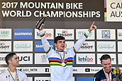 10th September 2017, Smithfield Forest, Cairns, Australia; UCI Mountain Bike World Championships; second place Mick Hannah (AUS) riding for Polygon UR looks on at first place Loic Bruni (FRA) riding for Specialized Gravity whilst on the podium for the elite mens downhill race;
