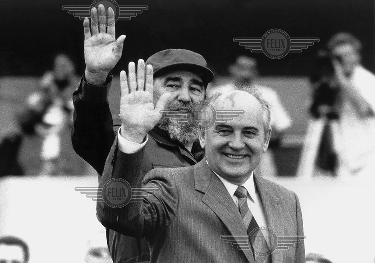President Fidel Castro with Soviet leader Mikhail Gorbachev during the latter's visit to Cuba in April 1989.