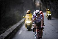 polka dot Thomas De Gendt (BEL/Lotto-Soudal) keeping energy levels up mid-race<br /> <br /> Stage 7: Nice to Col de Turini (181km)<br /> 77th Paris - Nice 2019 (2.UWT)<br /> <br /> ©kramon