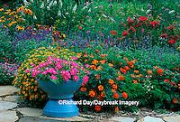63821-07916 Pink Wave Petunias in blue pot in Bird & Butterfly Flower Garden  Marion Co.  IL