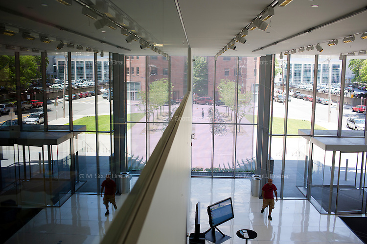 People walk through the MIT Media Lab building at MIT in Cambridge, Massachusetts, USA.