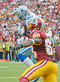 Dallas Cowboys strong safety Barry Church (42) intercepts a Kirk Cousins pass in the end zone to kill a Washington Redskins drive in the fourth quarter at FedEx Field in Landover, Maryland on Sunday, September 18, 2016.  Washington Redskins wide receiver Pierre Garcon (88) was the intended receiver.  The Cowboys won the game 27 - 23.<br /> Credit: Ron Sachs / CNP