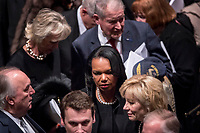 Former Secretary of State Condoleezza Rice, center, departs following the State Funeral for former President George H.W. Bush at the National Cathedral, Wednesday, Dec. 5, 2018, in Washington. <br /> CAP/MPI/RS<br /> &copy;RS/MPI/Capital Pictures